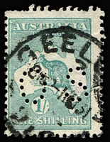Lot 514 [3 of 5]:1/- Die IIB Plate 4 Variety Selection comprising 'LI' of 'SHILLING' deformed & Retouch (mostly obscured by datestamp) BW #33(4)h&ha, Flaw on left of 'S' of 'SHILLING' perf 'OS' #33ba(4)j (short perfs), White flaw through 'TRA' of 'AUSTRALIA' #33(4)k & '1' for first 'I' in 'SHILLING' #33(4)l, some blemishes, Cat $500+ (ex the retouch, which is difficult to see). (5 items)