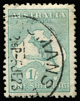 Lot 514 [1 of 5]:1/- Die IIB Plate 4 Variety Selection comprising 'LI' of 'SHILLING' deformed & Retouch (mostly obscured by datestamp) BW #33(4)h&ha, Flaw on left of 'S' of 'SHILLING' perf 'OS' #33ba(4)j (short perfs), White flaw through 'TRA' of 'AUSTRALIA' #33(4)k & '1' for first 'I' in 'SHILLING' #33(4)l, some blemishes, Cat $500+ (ex the retouch, which is difficult to see). (5 items)