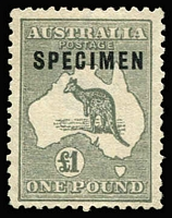 Lot 561:£1 Grey Optd 'SPECIMEN' Type C BW #53xb, few nibbed perfs, well centred, without gum, Cat $375.