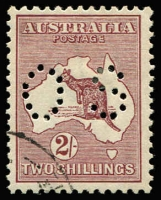 Lot 61:2/- Maroon Perf 'OS' CTO BW #38wc, very well centred, Cat $100.