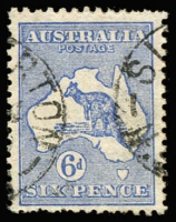 Lot 577:6d Blue Die II variety Islands in Bass Strait [2L27] BW #19(2)f, some nibbed perfs at base, postmark clear of the flaw.Cat $300.