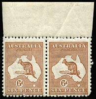 Lot 578:6d Chestnut Die IIB variety Broken leg on kangaroo [3L6] in sheet marginal pair, variety unit rounded corner, MUH, Cat $350+.