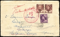 Lot 180 [1 of 2]:1953 Tasmania Sesquicentenary 3½d se-tenant pair plus 1d QEII tied by Warrawong South (NSW) datestamp to surface rate cover to Katanga, Belgian Congo, undelivered with Sydney DLO handstamps on front & on reverse, edge blemishes. Unusual usage.  combined lot 3120727
