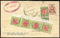 Lot 706:1957 4d Responsible Government BW #336 invalid use on 1958 (Jan 23) SS Strathaird cover posted at Wellington NZ to Qld, taxed 8d upon arrival at South Brisbane, with Pdues 1d Redrawn pair and Third Wmk 1½d marginal strip of four affixed and cancelled in manuscript. Late use of 1½d Dues.