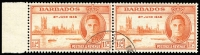 Lot 1279:1946 Victory 1½d red-orange marginal pair right-hand unit variety Two flags on tug SG #262a, very fine used, Cat £42+.