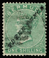 Lot 1284:1874 Surcharges 3d on 1/- Type 6 - 'P' same type as 'R' SG #13b, minor soiling, Cat £800.