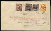 Lot 1176 [1 of 7]:1947-49 Selection comprising [1] Stationery Registration Envelope use with unlisted handstamped registration details; [2] registered at FPO 080 and [3] at AFPO Iwakuni with overprinted stamps, plus [4] Aust Army PO/214 tying 6d Kookaburra (unoptd) block of three, airmail to Australia. (4)