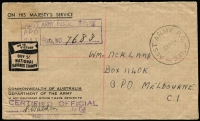 Lot 942 [1 of 2]:1947 (May 29) stampless official cover registered to Melbourne bearing fine strike 'AUST ARMY P.O./29MY47/241' datestamp of Eta Jima, 'ON TO/VICTORY/BUY 5/-/NATIONAL/SAVINGS STAMPS' indicia at left, handstamped registration details, backstamped 'No.8 AUST BASE P.O./A' and at Melbourne.