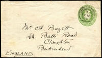 Lot 1607:1895 (Feb 16) use of 2½ annas Stationery Envelope from 'MOMBASA' (Proud Type D1) to UK, fine Birkenhead arrival backstamp.