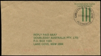 Lot 1359 [2 of 3]:1980s-1990s commercial trio to same addressee in Sydney, comprising rare Government Office Meter cancel, taxed, and Reply paid covers. (3)