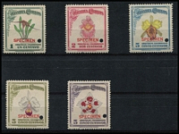 Lot 1583 [2 of 2]:Orchids: Colombia 1947 1c to 10c set, each stamp punctured and optd 'SPECIMEN' in red, mild tone band on one stamp, fresh MUH overall. Only 300 sets issued. (6)