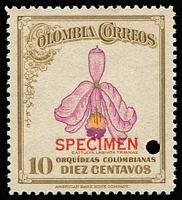Lot 1161 [1 of 2]:Orchids: Colombia 1947 1c to 10c set, each stamp punctured and optd 'SPECIMEN' in red, mild tone band on one stamp, fresh MUH overall. Only 300 sets issued. (6)