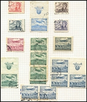 Lot 25 [3 of 4]:Czechoslovakia 1918-1945 Collection mostly used with extensive 1918-20 imperfs & perforated issues, shades including Without Sun 1000h purple mint, 1919 Opts mostly mint, 1930 Airs to 10k x2 used & 20k mint, 1937 Prague M/S MUH, 1938 Child Welfare M/S MUH; also postage dues, newpaper stamps, personal delivery issues, 1925 Bulletin D'Expedion used to Ljubljana, range of postmarks, plus some Bohemia & Moravia. Good opportunity to acquire semi-specialised collection for a modest outlay. (100)