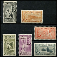 Lot 37 [2 of 3]:Falklands 1952 KGVI Pictorials ½d to £1 set, 2½d some nibbed perfs, most values MLH/MVLH, key 10/- & £1 MUH, Cat £180. (14)
