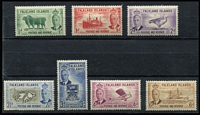 Lot 37 [3 of 3]:Falklands 1952 KGVI Pictorials ½d to £1 set, 2½d some nibbed perfs, most values MLH/MVLH, key 10/- & £1 MUH, Cat £180. (14)