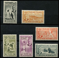 Lot 1453 [2 of 3]:1952 KGVI Pictorials ½d to £1 set SG #172-185, 2½d some nibbed perfs, most values MLH/MVLH, key 10/- & £1 MUH, Cat £180. (14)