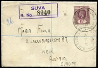 Lot 1532 [1 of 4]:1909-1948 Group with [1] 1909 PPC ('Kava Party') to Java at 1d rate; [2] 1932 Suva registered small cover to Austria with 6d KGV; [3] 1934(?) 6d double-rate to Austria with KGV 4d & ½d block of 4; [4] 1948 ½d printed matter rate cover to Italy; some edge blemishes Generally fine. (4)