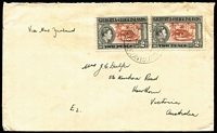 "Lot 1500 [2 of 6]:1939-54 Ocean Island Selection addressed to Australia with 1939-40 5½d rate covers x2 both endorsed for airmail service within Australia, 1943(?) 4d surface rate endorsed ""via New Zealand"", 1948 1/8d airmail rate, 1954 2½d surface rate, also 1939 two complete KGVI sets on separate FDCs (one with faults) both addressed to Ooma (small village on Ocean Island). [The sender/recipient J.C Dulfer was the resident civil engineer on Ocean Island] (7)"