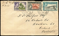"Lot 1500 [3 of 6]:1939-54 Ocean Island Selection addressed to Australia with 1939-40 5½d rate covers x2 both endorsed for airmail service within Australia, 1943(?) 4d surface rate endorsed ""via New Zealand"", 1948 1/8d airmail rate, 1954 2½d surface rate, also 1939 two complete KGVI sets on separate FDCs (one with faults) both addressed to Ooma (small village on Ocean Island). [The sender/recipient J.C Dulfer was the resident civil engineer on Ocean Island] (7)"