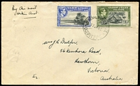 "Lot 1500 [1 of 6]:1939-54 Ocean Island Selection addressed to Australia with 1939-40 5½d rate covers x2 both endorsed for airmail service within Australia, 1943(?) 4d surface rate endorsed ""via New Zealand"", 1948 1/8d airmail rate, 1954 2½d surface rate, also 1939 two complete KGVI sets on separate FDCs (one with faults) both addressed to Ooma (small village on Ocean Island). [The sender/recipient J.C Dulfer was the resident civil engineer on Ocean Island] (7)"