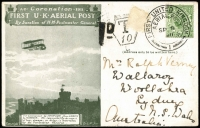 "Lot 1419:1911 (Sep 9) First United Kingdom Aerial Post service postcard, inaugural day of event, addressed to Sydney but paid only for internal use, hence taxed 1d (Australian postage due removed). Sender mentions, ""This is the first PC I have sent by Air Ship [sic]"". Very scarce to Australia."