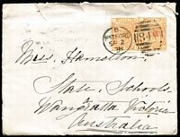 Lot 1534:1876-79 Group of Covers x8 from the Watford to Wangaratta (Vic) correspondence with solo frankings of 6d grey Plate 15 x2 and Plate 16 x4; also 1878 with 8d orange Plate 1 x2 and 1879 with 8d single (defective); all stamps are tied by Watford '1849' duplexes, each cover with Melbourne transit & Wangaratta arrival backstamps; condition variable.