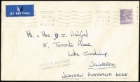 "Lot 1173:1974 (Nov 16) cover to Wanneroo WA carried aboard ill-fated VC-10 airliner hijacked by PLO at Dubai November 21, very fine strike of rare ""DELAYED EN ROUTE/- AIRCRAFT HI-JACK –"" applied at Perth."