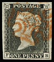 Lot 1404:1840 1d Grey-Black [FB] very worn plate SG Spec #AS3, large to very large margins, superb used with orange-red MC cancellation, signed Ferchenbauer.