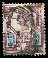 Lot 1407:1887-92 QV Jubilee Issue 5d dull purple & blue Die II, variety Watermark inverted SG #207aWi, minor toning, Cat £1,250. Very rare.