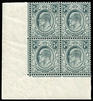 Lot 1409 [2 of 2]:1902-10 KEVII De La Rue Printing 7d grey-black and 7d deep grey-black shades, both in corner blocks of four from the lower-left of the sheet, date cuts in the margin lines, fine MUH, SG #249&a, (SG Spec #M37 1-2), Cat £770++. (two blocks)