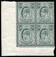 Lot 1409 [1 of 2]:1902-10 KEVII De La Rue Printing 7d grey-black and 7d deep grey-black shades, both in corner blocks of four from the lower-left of the sheet, date cuts in the margin lines, fine MUH, SG #249&a, (SG Spec #M37 1-2), Cat £770++. (two blocks)