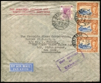 Lot 1429:1941 (Jul 30) airmail cover to USA carried by Pan Am FAM14 service to San Francisco, attractive and fine franking for $3.50 half oz rate, including $1 Centenary strip of 3, 'NOT OPENED/BY/CENSOR' boxed handstamp, typed address.