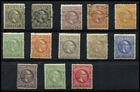 Lot 1600 [2 of 2]:1870-88 King William III simplified set to 2g50 (P12½x12) mint including 2c brown-purple, 5c green, 20c ultramarine & 30c green, a few blemishes (25c small tear at base), generally fine, Cat £800+. (14)