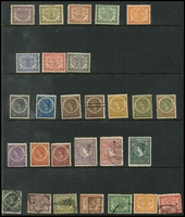 Lot 1458 [2 of 3]:1902-09 ½c to 50c mint, 1g x2 used, plus 2½g mint; also some used oddments plus 1912 1g on blued paper mint, some mostly lower values with toning, Cat £350. (29)