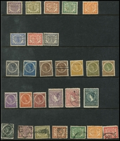 Lot 1458 [3 of 3]:1902-09 ½c to 50c mint, 1g x2 used, plus 2½g mint; also some used oddments plus 1912 1g on blued paper mint, some mostly lower values with toning, Cat £350. (29)