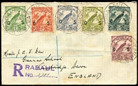 Lot 1222:1932 (Aug 27) small registered cover to England with Undated Birds optd 'OS' 1d, 1½d, 2d, 3d, 4d & 5d tied by Rabaul datestamps (Cat £140+ off cover), some toning. Seldom seen on cover.