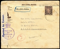 Lot 1223:1942 New Guinea Mission (Dogura) airmail cover to Sydney, endorsed 'NO STAMPS AVAILABLE' with Australia 3d KGVI tied by FPO '0139' datestamp, blue on white censor tape, censor #180 handstamp, some light spotting.