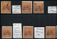 Lot 1212 [3 of 3]:1915-22 5d Plated Selection mostly mint selection a few ACSC-listed with 1915-16 Broken SE corner [1L42] & Retouched NE corner - third state [1R59] used, also 1d on 5d SG #100 used on piece (closed tear at base). (11)