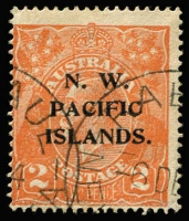 Lot 1214 [1 of 2]:Selection with used KGV 1d violet Dry ink, 2d orange Splintered upper-left corner & Thin 'TWO PENCE' retouch (Cat $125 as unoverprinted stamp); also 3d Roo SG #109 mint. (4)