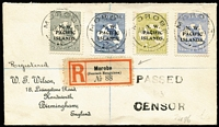 Lot 1220:1918 (Jan 19) Morobe registered Wilson cover to UK via Sydney (backstamp) with Roos 2d, 2½d, 3d Die I & 6d tied by Morobe Powell Type #90 datestamp, German-type registration label, three-line 'PASSED/by/CENSOR' handstamp in black, fine condition.