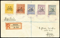 Lot 1221:1919 (Sep 5) Namatanai registered Blatter cover to Switzerland (Bern backstamp) with KGV 4d yellow-orange & 5d plus Roos 6d, 9d & 1/- (stained) tied by 'NAMATANAI/5SEP19/QUEENSLAND' Powell Type #76 datestamp in violet (Rated D), German-type registration label, fine condition.