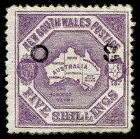 Lot 1066:1890-91: 5/- dull lilac Map P12 SG #O49b, marginal example with vertical watermark at right, weak 'S' in overprint, few nibbed/blunt perfs, overall fine mint. Cat £800.
