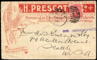 Lot 959:1903 (Mar 3) use of Prescott & Co advertising cover from Sydney to USA, franked with 1d Shield and with 'ONE HUNDRED POSTED' handstamp to qualify for Foreign Countries printed matter rated of 1d per 2oz. Most attractive example, low survival rate.