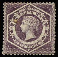 Lot 1067:1860-72 Diadems Wmk Double-Lined Numeral Perf 13 6d purple Wmk '5' SG #165a, single tonespot, fine mint, grossly undercatalogued at Cat £750.