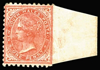 Lot 968:1882-97 Wmk 2nd Crown/NSW 1d scarlet P11x12 variety Imperforate between stamp and sheet margin at right, mint. Three mint examples are recorded, all from the same sheet. Rare.