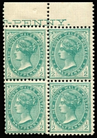 Lot 1088:1907 Wmk Crown/Double-Lined A ½d blue-green marginal block of 4 the two right-hand units variety No Watermark, left-hand units with part sheet-edge watermark, upper selvedge with double-lined 'A' of the Crown 'A' watermark, stamps are fresh MUH.