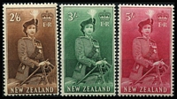Lot 455 [2 of 3]:1953-59 Queen-On-Horse ½d to 10/- set SG #723-36, fresh MUH, Cat £100. (16)