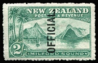 Lot 1471:1907-11 2/- Milford Sound: optd 'OFFICIAL.' SG #O66, few trivial faint tonespots on gum, fine mint overall, Cat £85.