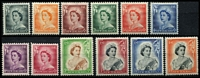 Lot 1466 [3 of 3]:1953-59 Queen-On-Horse ½d to 10/- set SG #723-36, 2/6d to 10/- marginal examples, fresh MUH, Cat £100. (16)