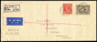 Lot 973:1932 (Jan 18) registered cover airmail from Darwin to Brisbane bearing 2d KGV for letter rate and 6d Airmail (3d registration fee + 3d airmail surcharge). Attractive item for NT or usage collection.